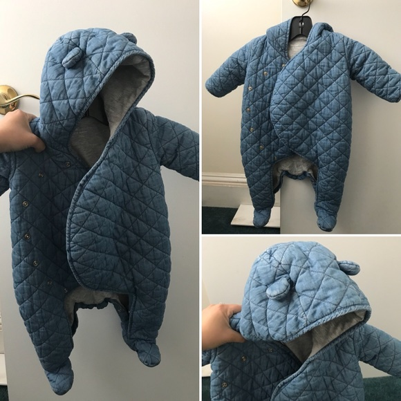 c1fe98703 GAP Jackets & Coats   Baby Quilted Overall Denim Chambray Jacket ...
